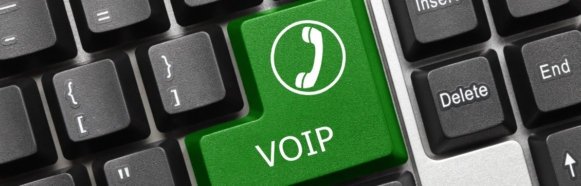 Close-up view on conceptual keyboard - VOIP (green key)